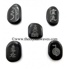 Black Agate Fine Engraved 5 Pc Usui Reiki Set