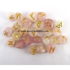 Rose Quartz Tumbled Rune Sets