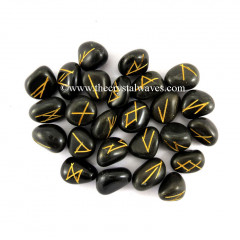 Black Agate Tumbled Rune Sets
