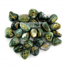 Moss Agate Tumbled Rune Sets