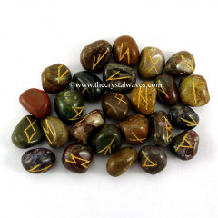 Fancy Jasper Dark Tumbled Rune Sets