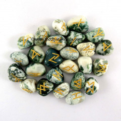Tree Agate Tumbled Rune Sets