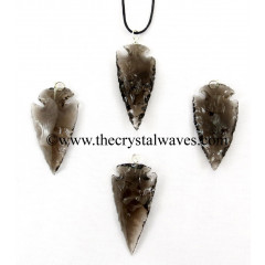 "Smoky Obsidian 1"" - 1.50"" Arrowhead Pendants"