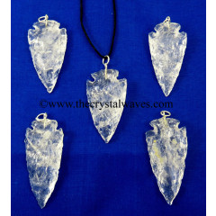 "Crystal Quartz 1.50"" - 2"" Arrowhead Pendants"
