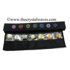 Colourful Chakra Symbols Printed Black Velvet Chakra Set Pouch