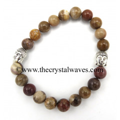 Natural African Jasper 8 mm Round Beads Bracelet With Buddha Charms