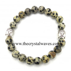 Dalmation Jasper 8 mm Round Beads Bracelet With Buddha Charms
