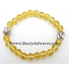 Citrine 8 mm Round Beads Bracelet With Buddha Charms