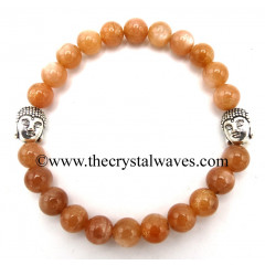 Peach Moonstone 8 mm Round Beads Bracelet With Buddha Charms