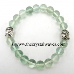 Green Fluorite 8 mm Round Beads Bracelet With Buddha Charms