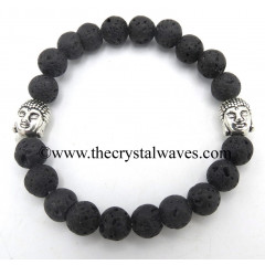 Lava Stone 8 mm Round Beads Bracelet With Buddha Charms