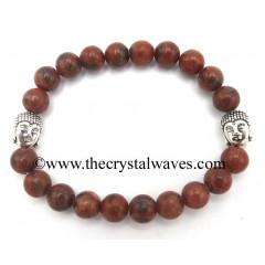 Red Black Jasper 8 mm Round Beads Bracelet With Buddha Charms