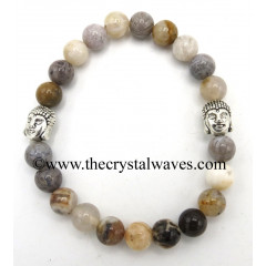 Natural Crazy Agate 8 mm Round Beads Bracelet With Buddha Charms