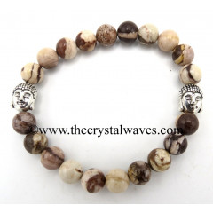Natural Brown Stripped Jasper 8 mm Round Beads Bracelet With Buddha Charms