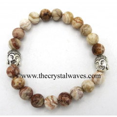 Crazy Lace Agate 8 mm Round Beads Bracelet With Buddha Charms