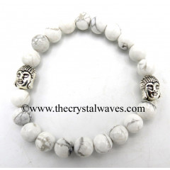 Howlite 8 mm Round Beads Bracelet With Buddha Charms