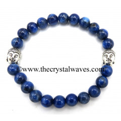 Blue Kyanite 8 mm Round Beads Bracelet With Buddha Charms