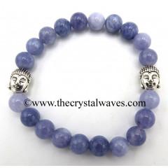 Aquamarine Natural 8 mm Round Beads Bracelet With Buddha Charms