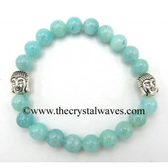 Amazonite Good Quality 8 mm Round Beads Bracelet With Buddha Charms