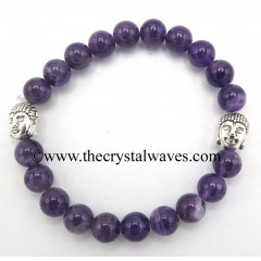 Amethyst 8 mm Round Beads Bracelet With Buddha Charms