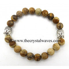 Picture Jasper 8 mm Round Beads Bracelet With Buddha Charms