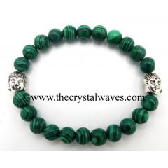 Malachite Manmade 8 mm Round Beads Bracelet With Buddha Charms