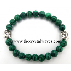 Malachite Natural 8 mm Round Beads Bracelet With Buddha Charms