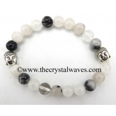 Black Rutilated Quartz 8 mm Round Beads Bracelet With Buddha Charms