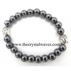 Hematite 8 mm Round Beads Bracelet With Buddha Charms