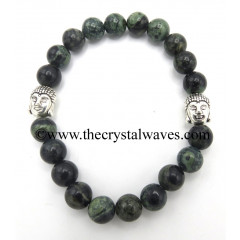Green Jasper 8 mm Round Beads Bracelet With Buddha Charms
