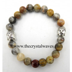 Plum Agate 8 mm Round Beads Bracelet With Buddha Charms