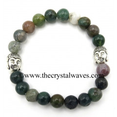 Indian Jasper 8 mm Round Beads Bracelet With Buddha Charms