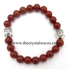 Red Agate Chalcedony 8 mm Round Beads Bracelet With Buddha Charms