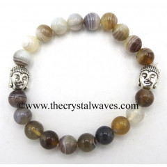 Botswana Agate 8 mm Round Beads Bracelet With Buddha Charms