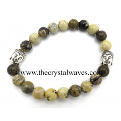 Picture Jasper African 8 mm Round Beads Bracelet With Buddha Charms