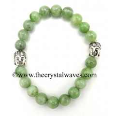 Green Jade8 mm Round Beads Bracelet With Buddha Charms