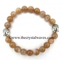 Mocha Moonstone 8 mm Round Beads Bracelet With Buddha Charms