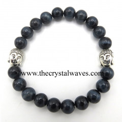 Blue Tiger Eye Agate 8 mm Round Beads Bracelet With Buddha Charms