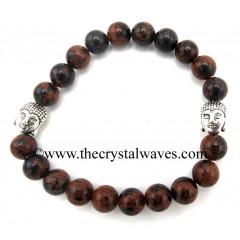Mahagony Obsidian 8 mm Round Beads Bracelet With Buddha Charms