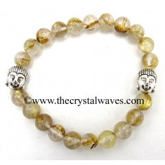 Golden Rutilated Quartz 8 mm Round Beads Bracelet With Buddha Charms