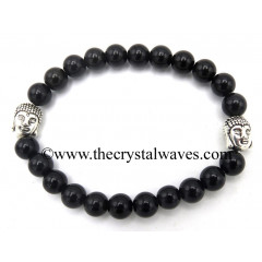 Black Obsidian 8 mm Round Beads Bracelet With Buddha Charms