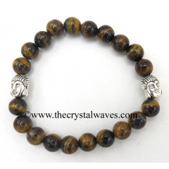 Tiger Eye Agate 8 mm Round Beads Bracelet With Buddha Charms