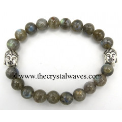 Labradorite A Grade 8 mm Round Beads Bracelet With Buddha Charms