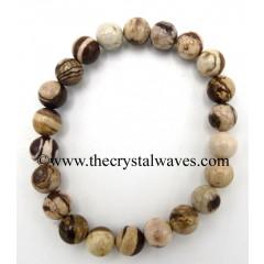 Natural Brown Stripped Jasper 8 mm Round Beads Bracelet