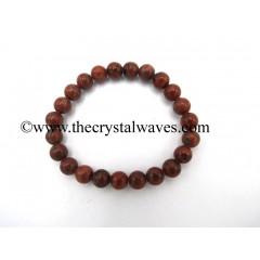 Red Black Jasper 8 mm Round Beads Bracelet