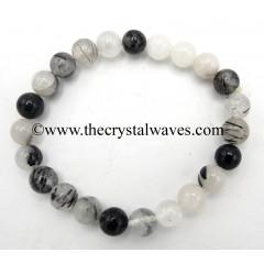Black Rutilated Quartz 8 mm Round Beads Bracelet