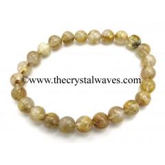 Golden Rutilated Quartz 8 mm Round Beads Bracelet