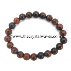 Mahagony Obsidian 8 mm Round Beads Bracelet