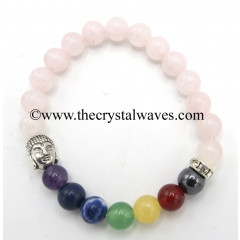 Rose Quartz Round Beads Chakra Bracelet With Buddha Charm