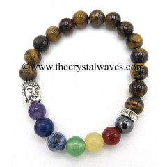 Tiger Eye Agate Round Beads Chakra Bracelet With Buddha Charm